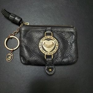 Juicy Couture black leather change purse